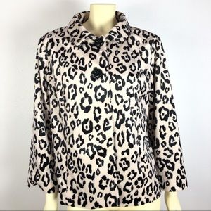 Chico's Cheetah Print Button Jacket Size 2 3/4 Slv